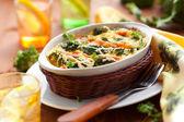 Broccoli and salmon gratin — Stock Photo