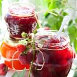 Various jams in jars — Stock Photo