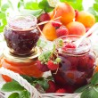 Various jams  in jars — Stock Photo