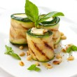Zucchini rolls with cheese - Stock Photo