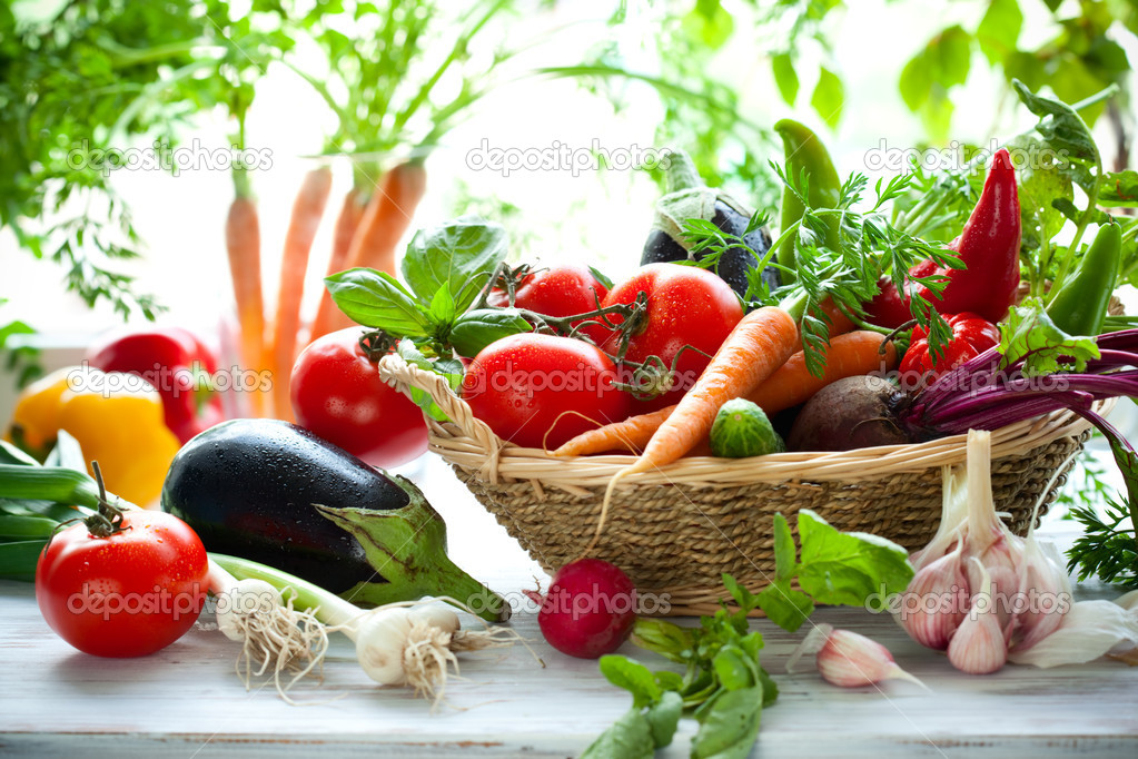 Different fresh vegetables on the table — Stock Photo #10728208