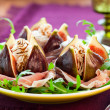 Stock Photo: Figs with prosciutto,cheese and balsamic vinegar