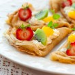 Crepes with fruits — Stock Photo