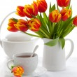 Red tulips and tea — Stock Photo #8336438