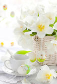 White tulips in a basket — Stock Photo