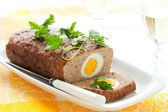 Meatloaf with boiled eggs — Stock Photo