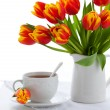 Red tulips and tea — Stock Photo #8358269