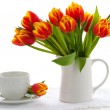 Red tulips and tea — Stock Photo #8358304