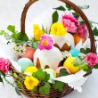 Basket with easter eggs and cake — Stock Photo #8358581