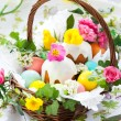 Basket with easter eggs and cake — Stock Photo #8358618