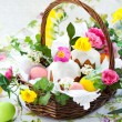 Basket with easter eggs and cake — Stock Photo #8358644