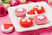 Sweet Valentine Petit Fours — Stock Photo