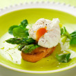 Poached egg and green asparagus — Stock Photo #8518803