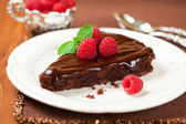 Chocolate cake with raspberry — Foto de Stock