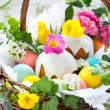 Basket with easter eggs and cake — Stock Photo #8520351