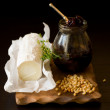 Goat cheese,onion jam,pine nut and  thyme — Stok fotoğraf