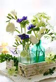 Bouquet of flowers( ranunculus; anemone; freesia,hellebore) — Stock Photo