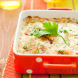 Potato and kohlrabi gratin - Stock Photo