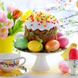 Royalty-Free Stock Photo: Easter cake and colourful eggs