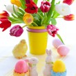Tulips and easter eggs — Stock Photo