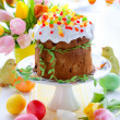 Easter cake and colourful eggs — Stock Photo #8979718