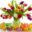 Stock Photo: Tulips and easter eggs