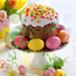 Easter cake and colourful eggs — Stock Photo