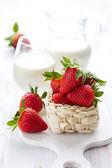 Strawberry and milk — Stock Photo