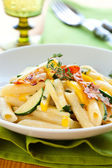 Courgette pasta carbonara — Stock Photo