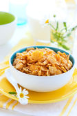 Corn flakes and milk — Stock Photo