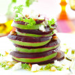 Beetroot,goat cheese and avocado - Stock Photo