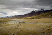 Leh Vallley landscape with dark clouds, India — Stock Photo