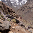Mountain landscape, path to Toubkal — Stock Photo