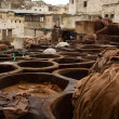 Morocco Fez Tannery close up view - Stock Photo