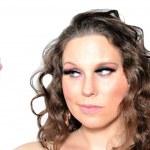 Woman and hairspray — Stock Photo