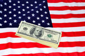 Dolarů a nás banner — Stock fotografie