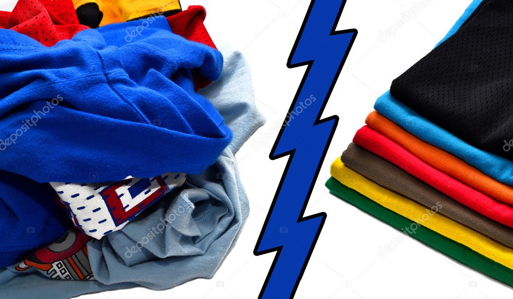 Pack of folded and clean shirts and pile of dirty clothes divided with blue lightning — Stock Photo #7988748