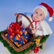 Baby Santa. Cute little girl dressed as Santa Claus — Stock Photo