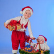 Happy New year. Charming Santa helpers. — Stock Photo #8136087