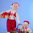 Happy New year. Charming Santa helpers. — Stock Photo #8136107