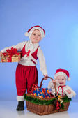 Happy New year. Charming Santa helpers. — Stock Photo