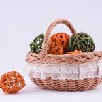 Wicker basket on a white background. — Stock Photo