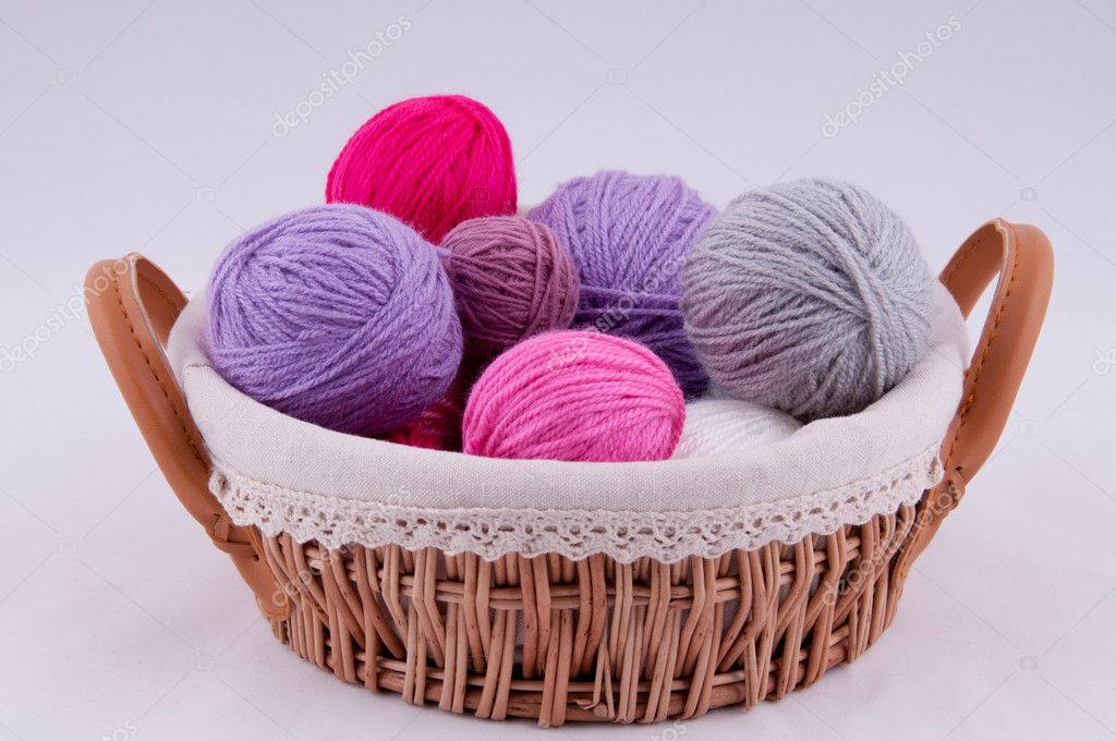 A ball of yarn for knitting in the basket on a white background — Stock Photo #9107675