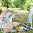 Family on a picnic. Son of photographs of parents mom and dad. — Stock Photo #9469529