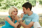 A man with a woman at a picnic, feed each other strawberries. A — Stock Photo