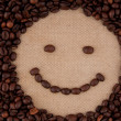Morning coffee mood smile, smiley from coffee beans. — Stock Photo #9561232