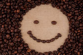 Morning coffee mood smile, smiley from coffee beans. — Stock Photo