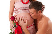 We are waiting for completion of the family. Husband and pregnan — Stock Photo