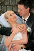 Happy and beautiful, loving couple embrace. — Stock Photo