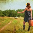 Beautiful brunette with a suitcase in the countryside. Photos in - Stock Photo